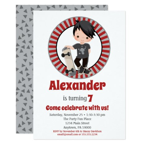 Black Hair Skateboard Boys Birthday Invitation