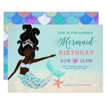 Beach Themed Black Hair with Black Skin Mermaid Birthday Party Card