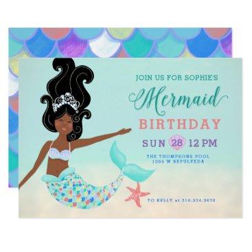 Beach Themed Black Hair with Dark Skin Mermaid Birthday Party Card
