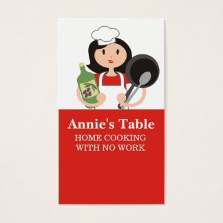 Black hair woman chef olive oil cooking biz cards