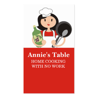 Black hair woman chef olive oil cooking biz cards Double-Sided standard business cards (Pack of 100)