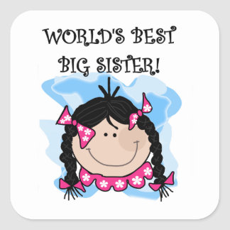 Black Hair World's Best Big Sister Gifts Square Sticker