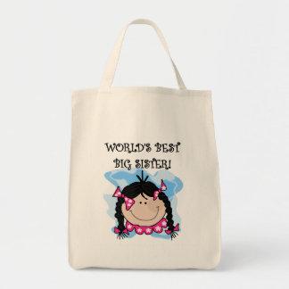 Black Hair World's Best Big Sister Tshirts Grocery Tote Bag