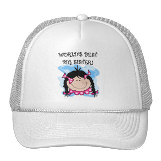Black Hair World's Best Big Sister Tshirts Trucker Hat