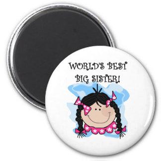Black Hair World's Best Big Sister Tshirts Magnet