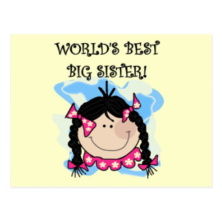Black Hair World's Best Big Sister Tshirts Postcard