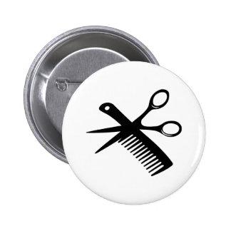 black hairdresser comb scissors pinback buttons