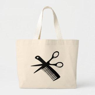 black hairdresser comb scissors large tote bag
