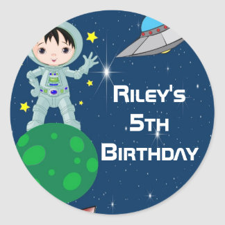 Black Haired Astronaut Boy Party Favor Labels Classic Round Sticker