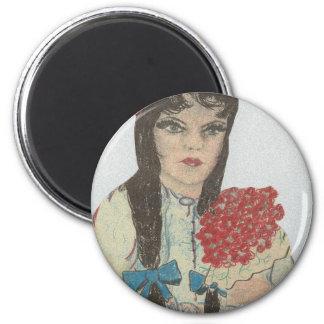 Black Haired Blue Eyed Flower Girl Magnet