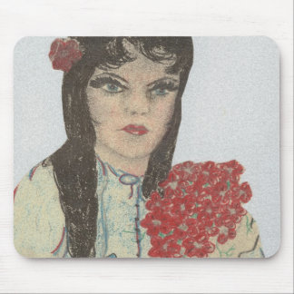 Black Haired Blue Eyed Flower Girl Mouse Pad