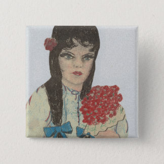 Black Haired Blue Eyed Flower Girl Pinback Button