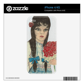 Black Haired Blue Eyed Girl - 2 Decals For The iPhone 4S