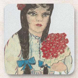 Black Haired Blue Eyed Girl - 2 Drink Coaster