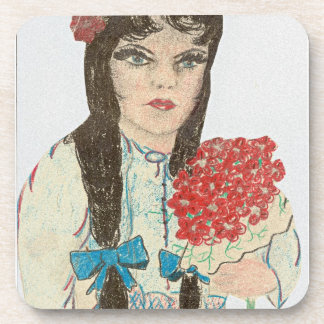 Black Haired Blue Eyed Girl Beverage Coaster