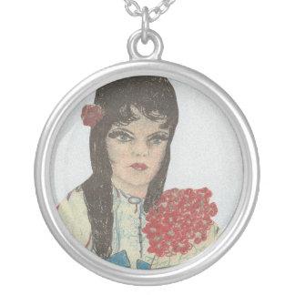 Black Haired Blue Eyed Girl Round Pendant Necklace