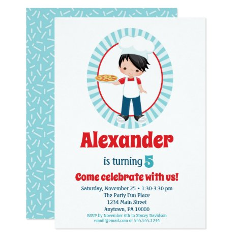 Black Haired Boy Pizza Party Birthday Invitation