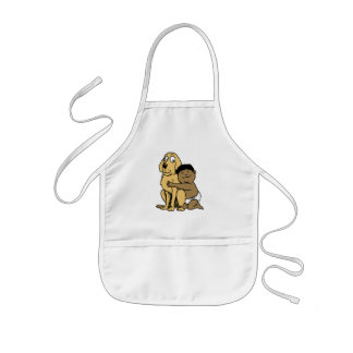 black haired boy with big dog kids' apron