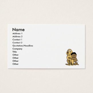 black haired boy with big dog business card