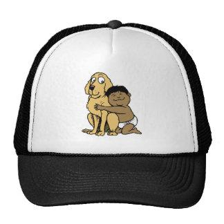 black haired boy with big dog trucker hat