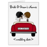 Black Haired Bride and Brunette Groom Card