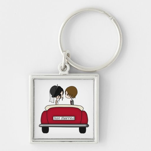 Black Haired Bride and Brunette Groom Keychain