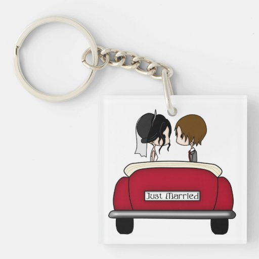 Black Haired Bride and Brunette Groom Acrylic Keychain