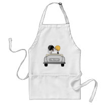 Black Haired Bride & Blonde Groom in Grey Car Adult Apron