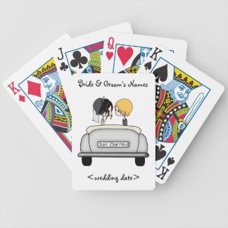 Black Haired Bride & Blonde Groom in Grey Car Bicycle Playing Cards