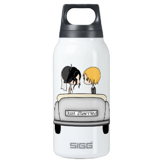 Black Haired Bride & Blonde Groom in Grey Car SIGG Thermo 0.3L Insulated Bottle