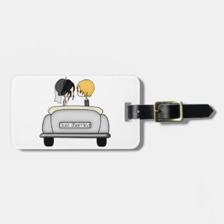 Black Haired Bride & Blonde Groom in Grey Car Tag For Luggage