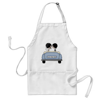 Black Haired Bride & Groom in Blue Wedding Car Adult Apron