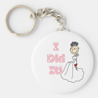 Black Haired Bride I Did It Keychain
