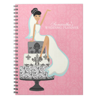 Black Haired Bride on Wedding Cake {pink} Notebook