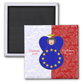 Black-Haired European Union Flag Red White Magnet