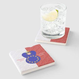Black-Haired European Union Flag Red White Stone Coaster