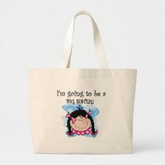 Black Haired Girl Future Big Sister Jumbo Tote Bag