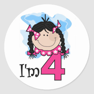 Black Haired Girl I'm Four Classic Round Sticker