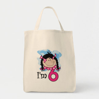 Black Haired Girl I'm Six Grocery Tote Bag