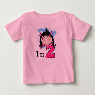 Black Haired Girl I'm Two Baby T-Shirt