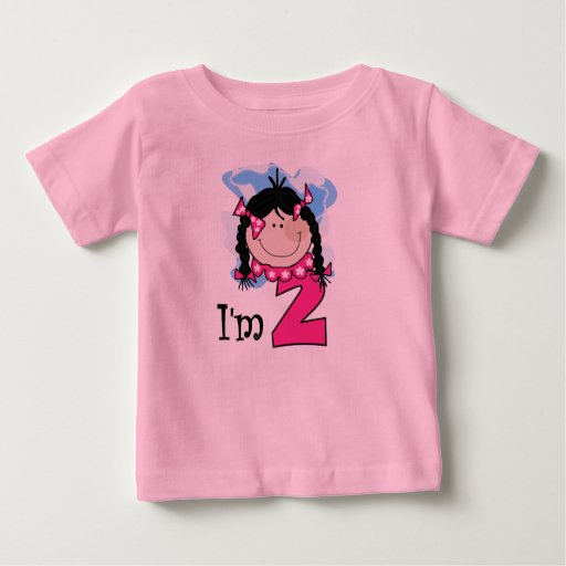 Black Haired Girl I'm Two Tee Shirt