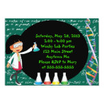 Black Haired Girl Mad Scientist Party Invitation