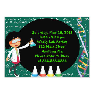 """Black Haired Girl Mad Scientist Party Invitation 5"""" X 7"""" Invitation Card"""