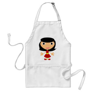 Black Haired Girl With Red Shoes Adult Apron