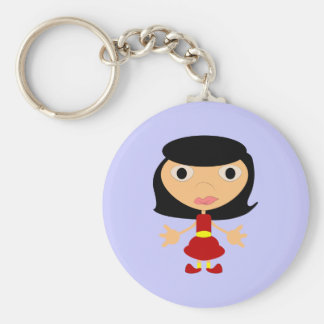 Black Haired Girl With Red Shoes Button Keychain