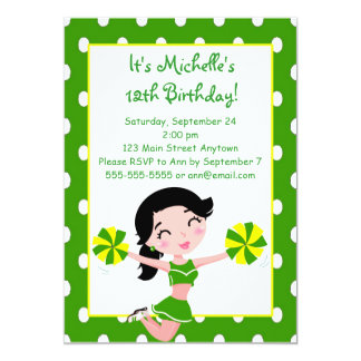 Black haired Green Yellow Cheerleader Invitations