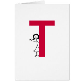 Black Haired Initial Notecards Card
