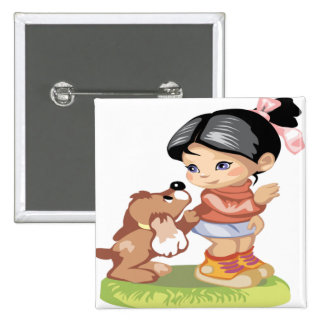 Black haired little girl pinback button