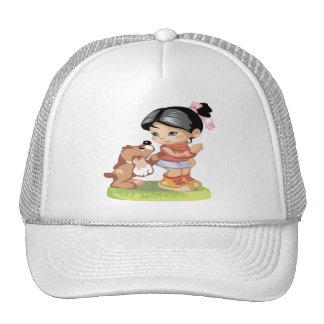 Black haired little girl trucker hat