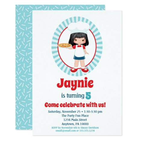 Black Haired Pizza Party Girls Birthday Invitation